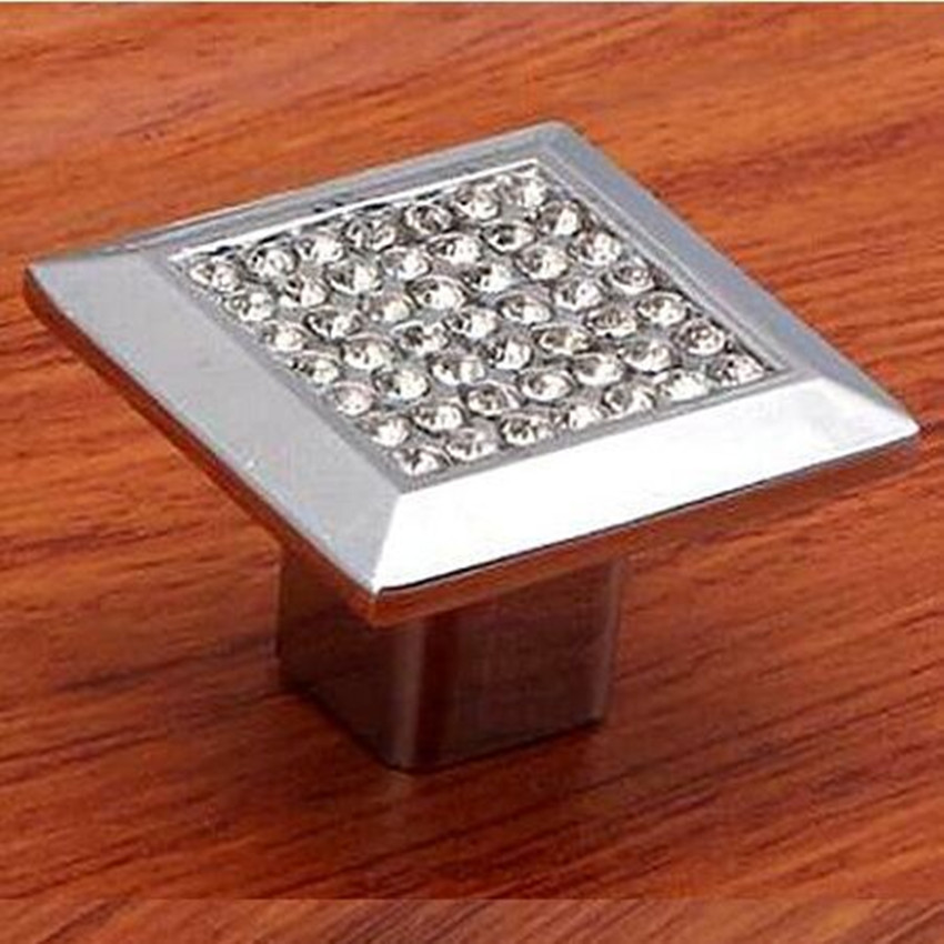 glass crystal knob pull kitchen cabinet knob dresser pull cupboard handle chrome silver furniture hardware rhinestone - Square Kitchen Cabinet Knobs