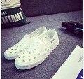 Весна лето выдалбливают белый обуви холст обувь повседневная обувь педали плоские студентки ленивый леди обувь