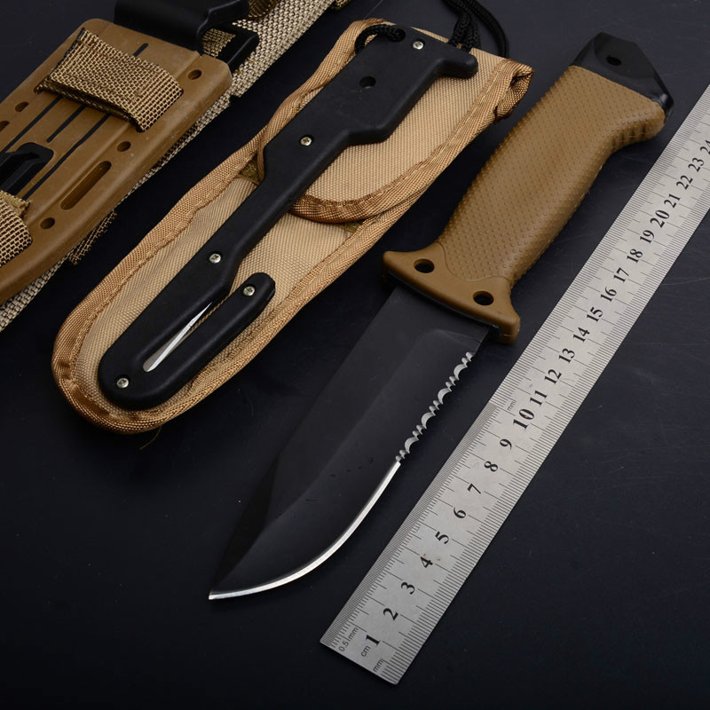 Hunting Fixed <font><b>Knives</b></font> 7CR15 Blade FRN glass fiber reinforced nylon Handle Tactical Survival <font><b>Knife</b></font> Camping <font><b>Knife</b></font> KSheath with logo image