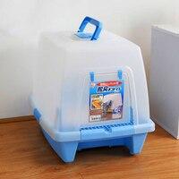 Песок бассейна Лотки для кошек Закрытая большой Туалет смолы ПЭТ ящик для мусора Пластик Лотки кошки Mascotas Gato товары для животных 90Z2111