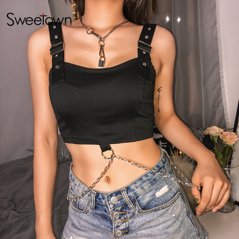 Sweetown Black Punk Gothic Adjustable Straps Tank Top Streetwear Cross Metal Chain Party Crop Tops For Women Holiday Clothes