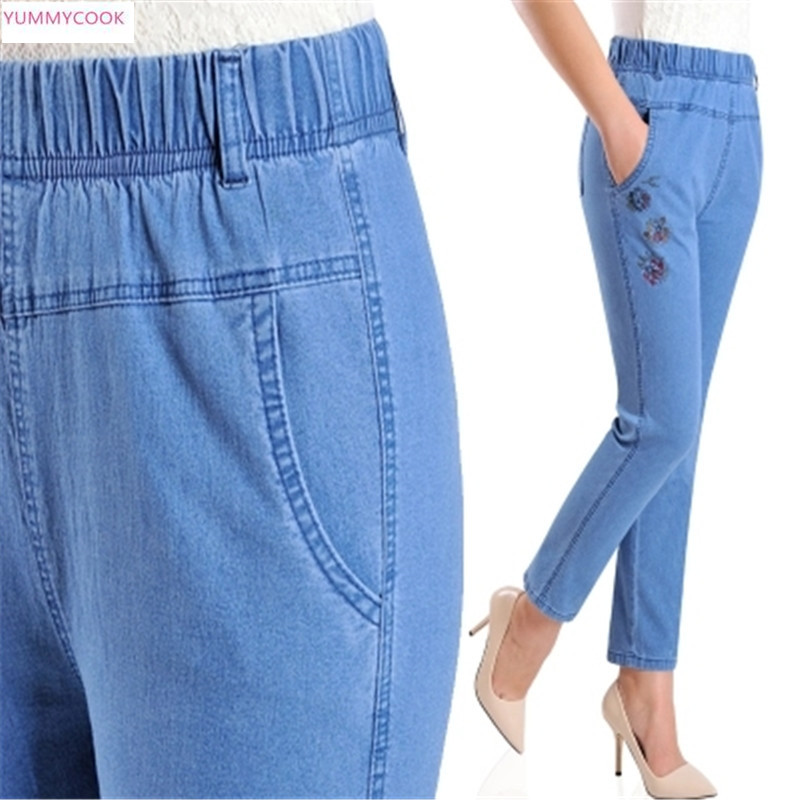 Jeans Female Pants Stretch High-Waist Large-Size Straight Summer Casual And Old Nine