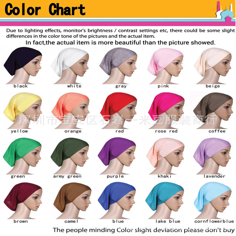 New Fashion Muslim Viscose Solid Elastic Material Under Cap Inner Hijab Tube Caps Breathable Women Scarf 10ps Free Shipping Beautiful And Charming