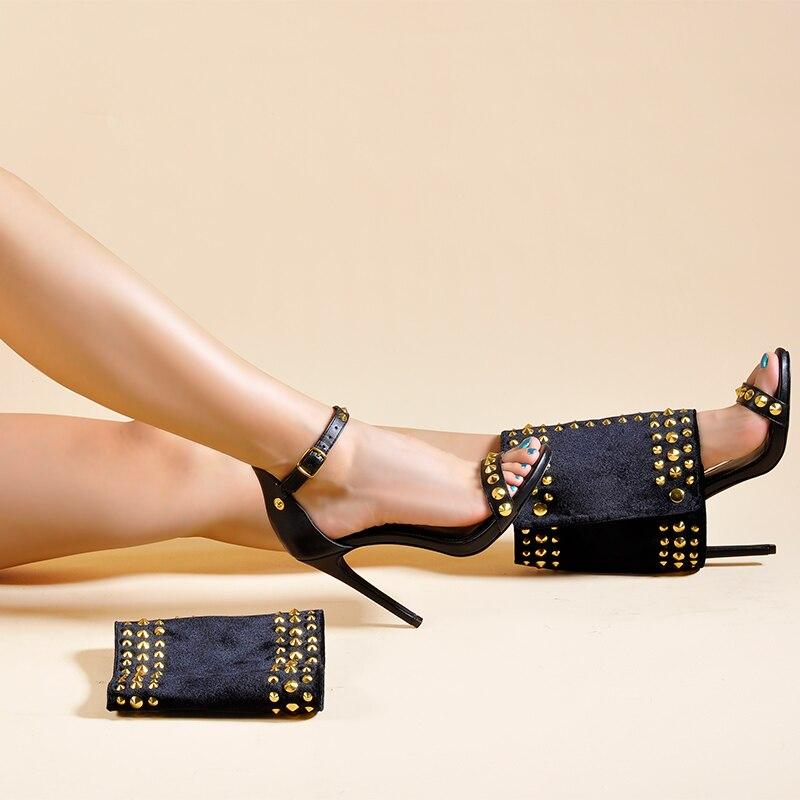 As Palmas Das Mãos de rosa Sapatos Femininos Sandálias e Eixo de Duas Peças Definir sapatos De salto Alto com Rebites Moda Venda Quente Paixão Das Mulheres Tornozelo sandálias Botas - 4