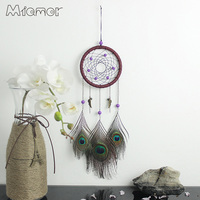 Vintage Enchanted Forest Peacock Dreamcatcher Handmade Dream Catcher Net With Feathers Decoration Ornament Amor063