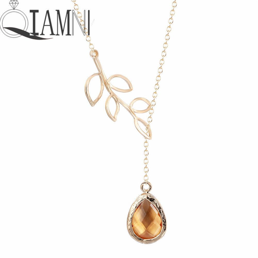 QIAMNI Elegant Leaf with Orange Stone Droplet Necklace Unique Pendant Necklace Minimalist Jewelry Gift for Girls and Women
