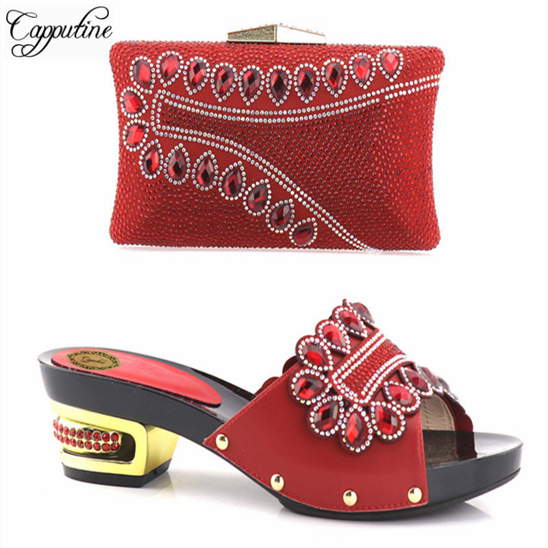 Capputine 2018 Italian Design Shoes With Matching Bag African Low Heels 5CM Shoes And Bag Set African Party Shoes And Bag Set italian shoes with matching bag new design african pumps shoe heels fashion shoes and bag set to matching for party gf25