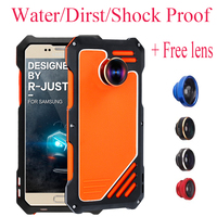 For S7 Luxury Dirt Shockproof Waterproof Metal Aluminum Phone Case For Samsung Galaxy S7 edge 3 in 1 micro lens+Tempered R just