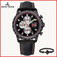 Reef Tiger/RT модные спортивные часы для мужчин хронограф кварцевые часы с датой стальные мужские часы со светящиеся маркеры RGA3029