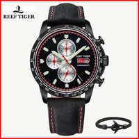 Reef Tiger/RT Fashion Sport Watch for Men Chronograph Quartz Watches with Date Steel Men Watches with Luminous Markers RGA3029