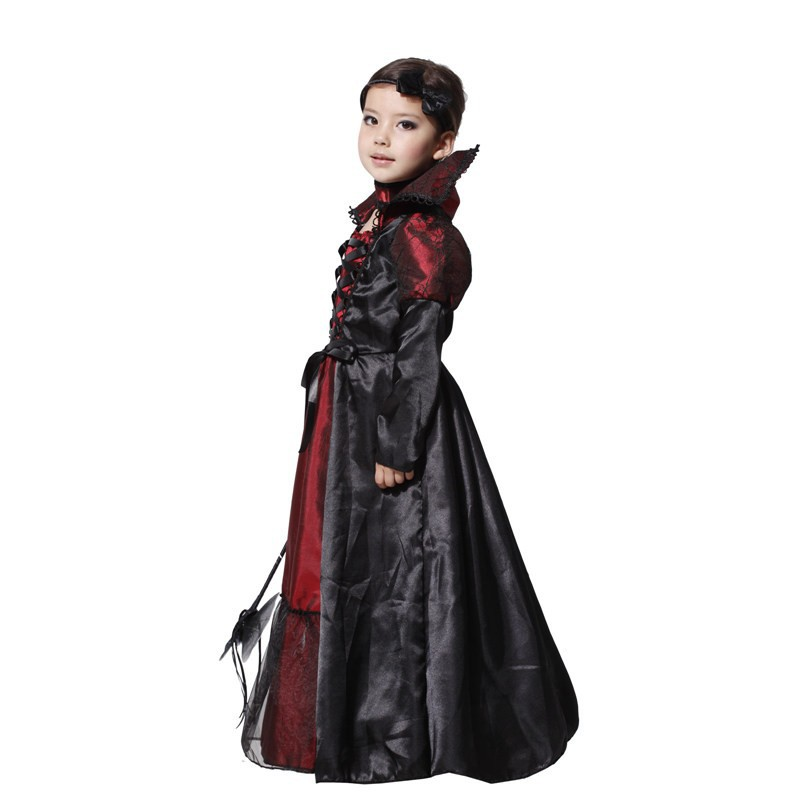 online shop mxl new vampire girl queen prinecess children cosplay halloween costume for kids party carnival lace long dress necklace suit aliexpress