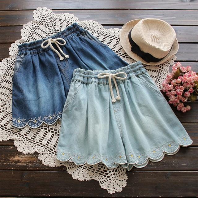 Spring Summer Mori Girl Short Women's Layer Floral Embroidery Elastic Waist Pocket Denim Cowboy Female Vestido Mini Shorts U489