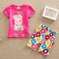 2016 summer children girl clothing sets fashion cartoon baby girls&boys sports costume shorts kids clothing set suit