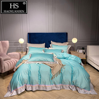 Mint Green 4pcs High Density 1000 Thread Count Bedding Sets 100% Cotton Nordic Bed Cover Set Queen King Size Adult Bed Set