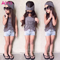 Brand New Summer Style Children Clothing Set 3PCS Outfit Sets Casual Girls Clothes 2016 Fashion Tank Tops Denim Shorts Headband