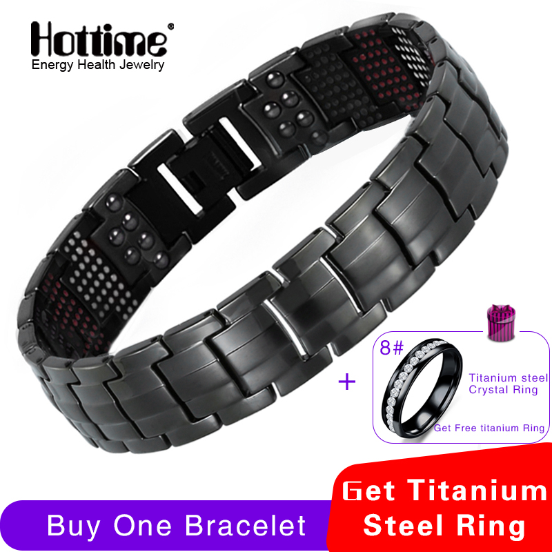 Hottime 591PCS Energy Stone Titanium Staal Magnetische Armbanden en Armbanden Black Gun Plated Germanium Armband Fashion Men Jewelry