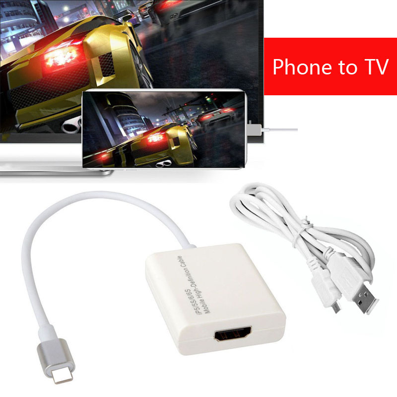 Phone Video to TV AV Adapter Video Converter HDMI Cable for iPad to TV For iPhone 8 PLUS 7 PLUS X 6 6S Plus 5 5S TO Projector
