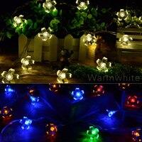 TSLEEN 50LED 7M Peach Sakura Flower Solar Power Lamp String Fairy Lights Chirstmas Xmas Tree