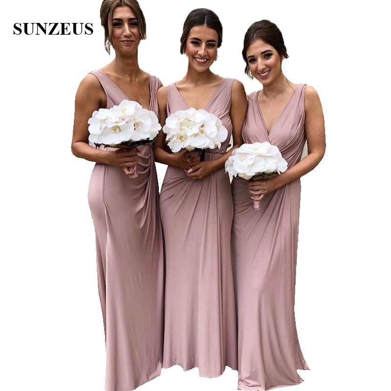 Straight Style Elegant Women V-neck   Bridesmaid     Dresses   Long Jersey Party Gowns For Wedding Abendkleider
