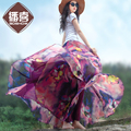 Envío Gratis 2017 Boshow Morado Estampado de Flores Playa de La Gasa de Largo XS-XL Del Verano Maxi Faldas de Cintura Elástica Con Dobladillo Grande Para mujeres