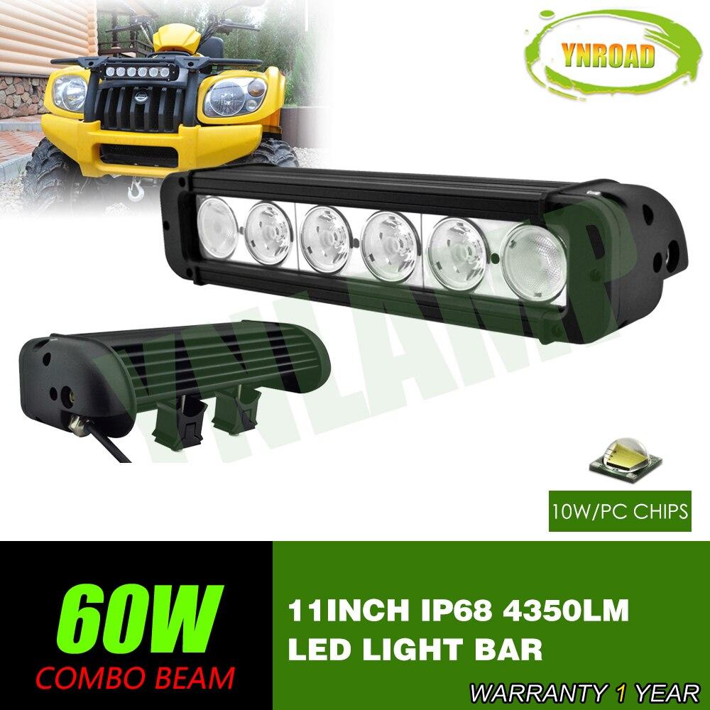 YNROAD 11 pouce 60 w simple rangée de Led Light Bar Conduite Offroad lumière Spot/flood 10 V-70 V 4350LM pour 4x4 ATV UTV UTILISATION IP68