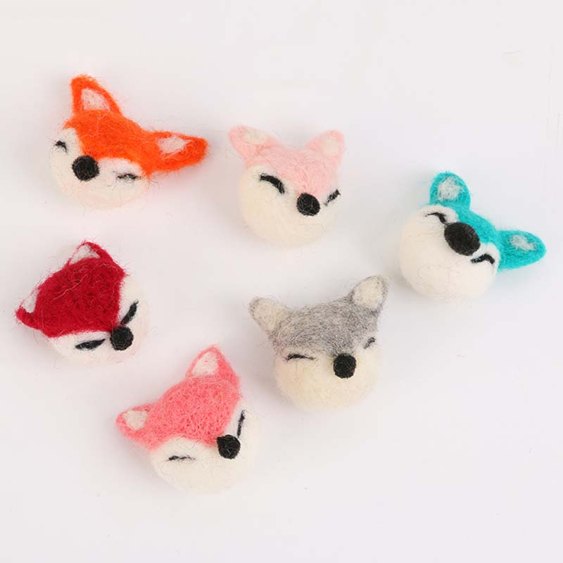 Felt Craft Lovely Fox Head Felting Poked Free Shipping Wool Felt Poked Set Handmade DIY Fox Felt For Needle Material Bag 1PC