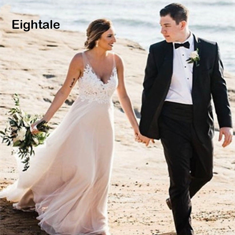 Eightale Beach Wedding Dresses 2019 V Neck A Line Tulle Bridal Dresses Princess Boho Wedding Gown Plus Size Free Shipping