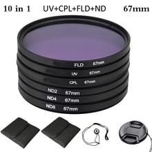 лучшая цена 67mm UV+CPL+FLD+ND Photography Filter Kit Set Polarizing Neutral Density Camera Filter for Nikon Canon Sony Pentax DSLRs