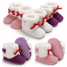 49d56f6ba232 Baby Shoes Girl Soft Booties Pink Bow Pure Color Snow Boots Anti-slip  Toddler White Warm Winter Shoes for Baby Girl 1 year old
