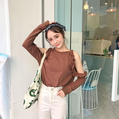 013d4a9d0b3d9c Best firends Tshirt Women 2018 Autumn Japanese Korean Style Hollow Out Long  Sleeve Off Shoulder Tops White tee shirt femme T192-in T-Shirts from  Women s ...