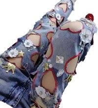 2016 новинка женщины сладкое в форме сердца выдалбливают из бисера джинсовые брюки дамы мыть разорвал карандаш джинсы G337