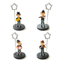 Free shipping Photo clips Resin mini figures home decoration 4pcs set Musician&Animals 2 styles for choose zak modern party gift