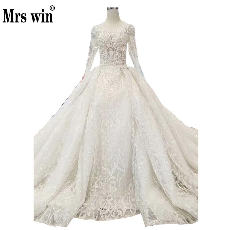 Robe De Mariee Grande Taille 2019 New Mrs Win Long Sleeve V-neck Princess Luxury Wedding Dress Sexy Vestido De Noiva F