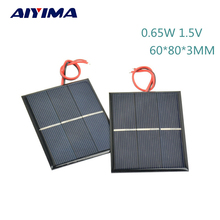 AIYIMA 2Pcs Solar Panels DIY Flexible Solar Panel Energy Epoxy Plate With Wires 0.65W 1.5V 60x80x3MM Panneau Solaire