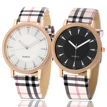 купить 2016 Fashion Brand Quartz Watch Plaid Leather Watch Popular Women Wrist Watches Designer Ladies Clock Montre Femme Reloj mujer по цене 188.44 рублей