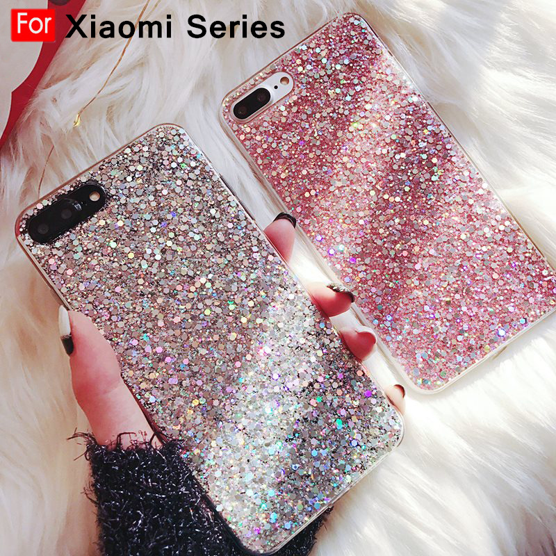 Glitter Crystal Sequins Phone Case for Xiaomi <font><b>mi</b></font> <font><b>9</b></font> 8 A2 Lite A1 6X 5X 360 Case for Redmi 7 Note 7 6 Pro 5 Plus 6A 4 4X S2 Cover image