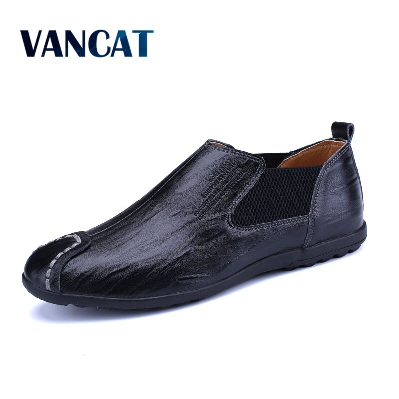 VANCAT 2018 New Comfortable Casual Loafer Men Shoes High Quality Cow Leather Handmade Men Flats Footwear Business Driving Shoes handmade mens dress shoes italian leather studded flats loafer shoes men casual shoes fashion spiked loafer 35 46