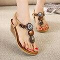 Sandalias de las mujeres Con Cuentas Sandalias de Cuña de Las Mujeres Sandalias de Verano Zapatos de la Playa Negro
