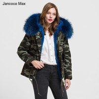 Jancoco Max Camouflage Parker Jacket Detachable Genuine Raccoon Large Collar Trim Winter Top Warm Fur Lined Hooded Coats S1737