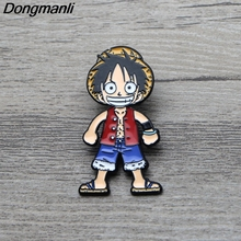 L3644 Anime One Piece Luffy Art Enamel Pin Brooches Cartoon Creative Metal Brooch Pins Denim Hat Badge Collar Jewelry 1pcs 9pcs set anime cartoon one piece luffy skeleton flags badge brooch acrylic badge pins