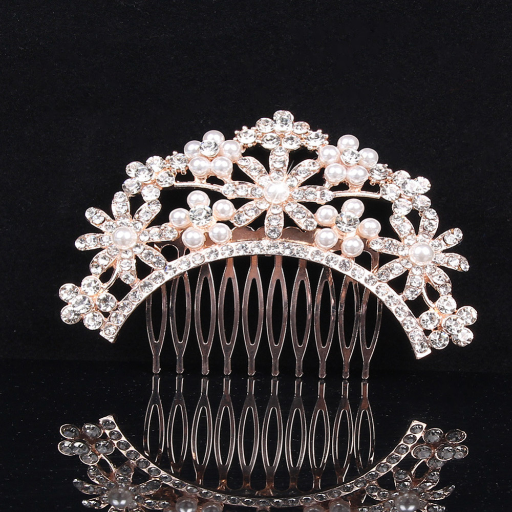 Bride Pearl Hair Combs Wedding Dress Accessories Women Rhinestone Head Piece Hair Ornaments