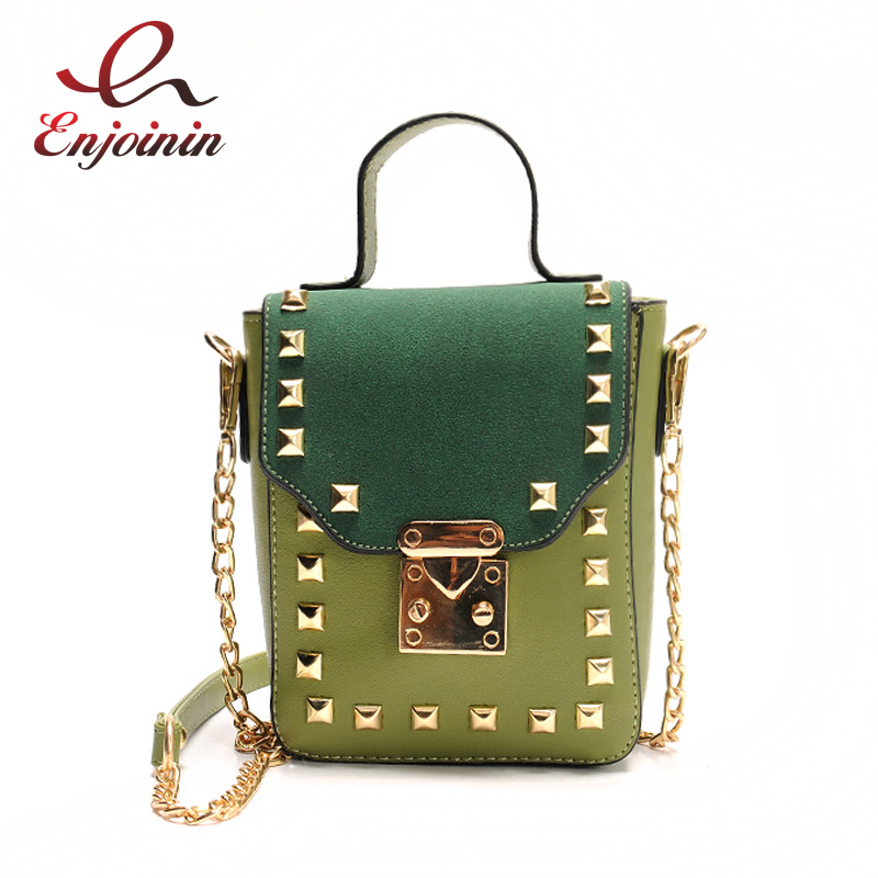 Fashion casual gold rivet chain pu leather shoulder bag handbag ladies crossbody mini messenger bag purse flap 4 colors  fun fashion personality disposable leather pu leather chain shoulder bag handbag female crossbody mini messenger bag purse