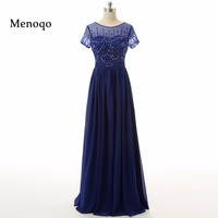 Real Sample Short Sleeve Beaded Chiffon A Line Formal Evening Dresses Floor Length Elegant Mother Of