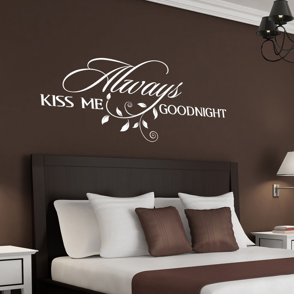 Always Kiss Me Goodnight Vinyl Wall Decal - Couple Room Love Vinyl Wall Decal Quotes 34 x 16 S