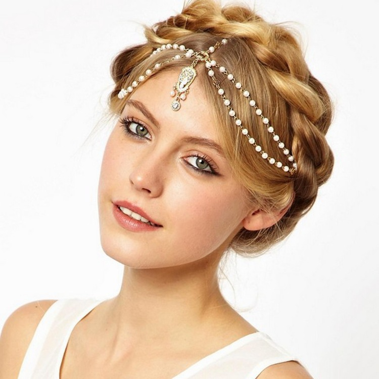 Hår smycken Bride Hair Decoration Kvinnor tofs Headband Mode Indian Boho Beaded Head Piece bröllop Head Chain Hair smycken