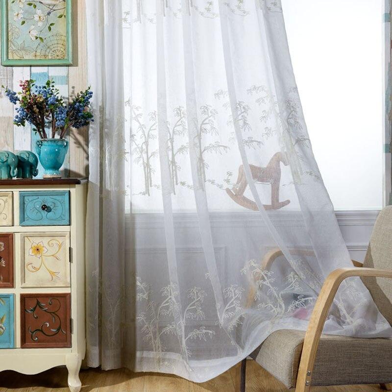 White Sheer Curtain Design Classic Chinese Bamboo