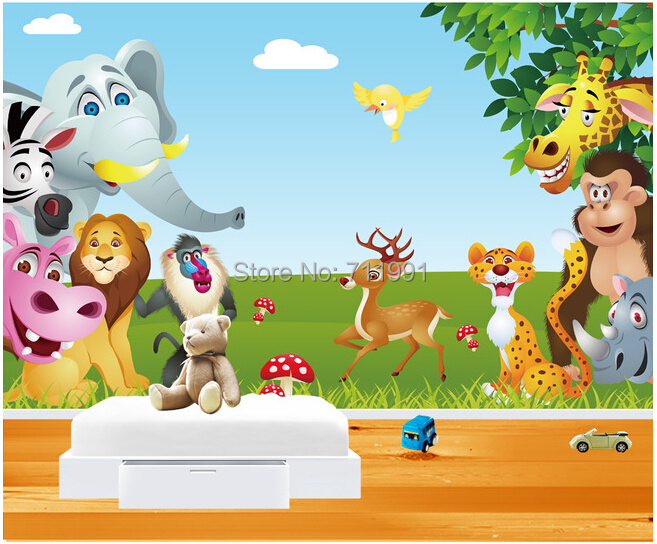 Customize childrens wallpaper animal paradise of children for Child mural wallpaper