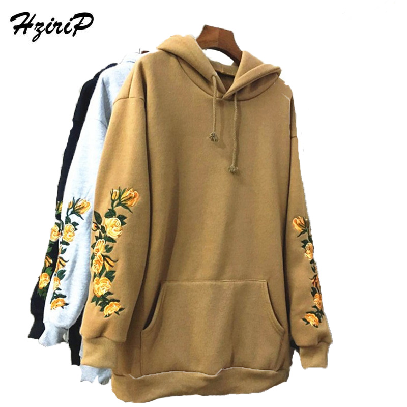 HziriP 2018 New Hooeded Sweatshirt Women Elegant Embroidery Flowers Long-sleeved Pullover Fashion Casual High Quality Hoodies
