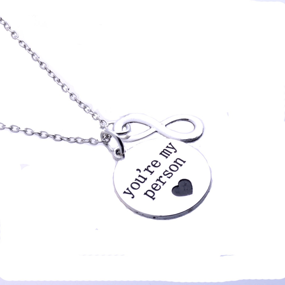 Us 1 48 38 Off 2pis Set Engraved Grey Anatomy Necklace Hot Sales Letter You Are My Person Pendant For Men Woman Necklace Sweater Chain In Pendant