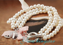 New Arrival Multi Layer White Simulated Pearl Chain Glass Ball Charm Bracelet For Wedding Elegant Bride Bracelets HL051(China)